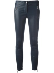 Arma Skinny Leather Trousers Blue