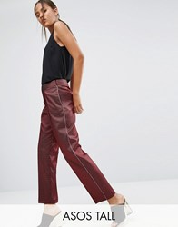 Asos Tall Piped Stripe Tapered Pants Red