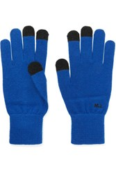 Marc By Marc Jacobs Charlie Wool And Cashmere Blend Gloves Royal Blue