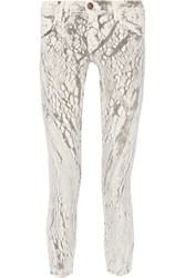 Current Elliott The Stiletto Printed Mid Rise Skinny Jeans White