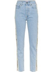 Palm Angels Tape Detail High Waisted Jeans Blue