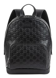 Gucci Signature Monogrammed Leather Backpack Black