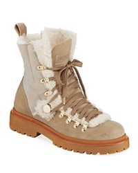 Moncler Berenice Stivale Fur Lined Hiking Boots Beige