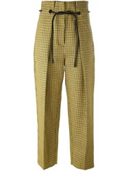 3.1 Phillip Lim Origami Pleat Houndstooth Trousers Yellow And Orange