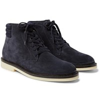 Loro Piana Icer Walk Cashmere Lined Water Repellent Suede Boots Navy