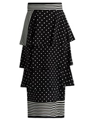 Stella Mccartney Stripe And Polka Dot Print Silk Skirt Black