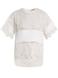 N 21 Crepe Panelled Lace T Shirt White