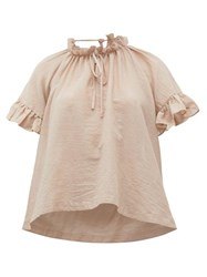 Loup Charmant Marina Ruffle Trimmed Organic Cotton Top Light Pink