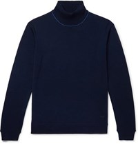 Paul Smith Ps Slim Fit Contrast Tipped Merino Wool Rollneck Sweater Navy