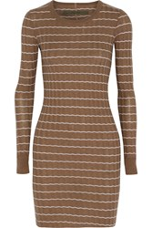 Enza Costa Ribbed Knit Cotton And Cashmere Blend Sweater Dress Brown