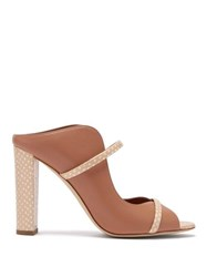 Malone Souliers Norah Elaphe Effect Leather Mules Nude