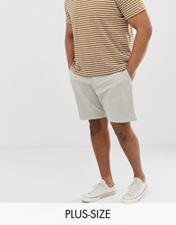 French Connection Plus Slim Fit Peached Cotton Chino Shorts Grey