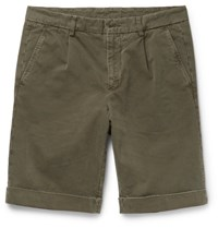 Aspesi Garment Dyed Brushed Cotton Twill Chino Shorts Army Green