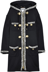 Moschino Hooded Boucla Embroidered Jersey Coat