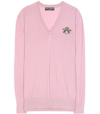 Dolce And Gabbana Embellished Cashmere Sweater Pink