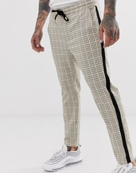 Only And Sons Neon Check Trouser In Beige Tan