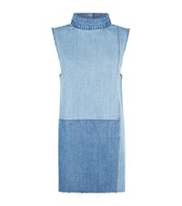 Ksubi Denim Patch Shift Dress Female Blue