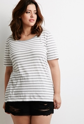 Forever 21 Striped Crew Neck Tee Cream Heather Grey