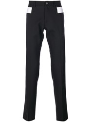 Givenchy Contrast Panel Chino Trousers Men Cotton Elastodiene Acetate Wool 48 Black