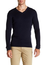 Save Khaki Long Sleeve Rib V Neck Sweater Blue