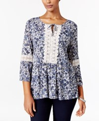 Styleandco. Style Co. Petite Printed Peplum Peasant Top Only At Macy's Lovely Buds Blue