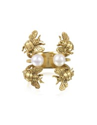 Bernard Delettrez Bees And Pearls Bronze Ring Gold