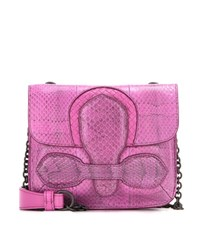 Bottega Veneta Snakeskin Shoulder Bag Purple