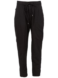 The Viridi Anne The Viridi Anne Drawstring Tapered Trousers Black