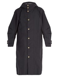 Thom Browne Articulated Sleeve Oversized Hooded Trench Coat Navy