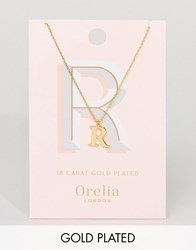 Orelia Gold Plated Large R Initial Necklace Gold