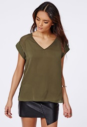 Missguided Roll Sleeve V Neck Shell Top Khaki