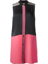 Bouchra Jarrar Colour Block Shirt Dress Pink And Purple