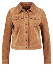 Noisy May Nmken Leather Jacket Tobacco Brown Tan