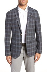 Sand Trim Fit Plaid Sport Coat Grey