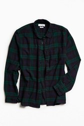 Urban Outfitters Uo Blackwatch Plaid Flannel Button Down Shirt Green