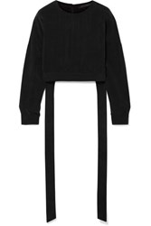 Sally Lapointe Cropped Cupro Top Black