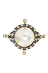 Freida Rothman 14K Gold And Rhodium Plated Sterling Silver Rosecut Faceted Cz Crown Ring Metallic