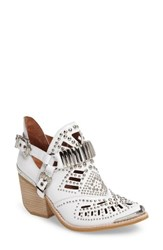 Jeffrey Campbell Women's 'Calhoun' Cutout Bootie White Silver Raw Stack Leather