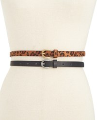 Styleandco. Style Co. 2 For 1 Leopard Print Skinny Belts Only At Macy's Black Cognac