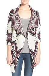 Junior Women's Sun And Shadow Drape Front Blanket Cardigan