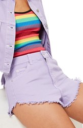 Topshop Moto Fray Hem Denim Shorts Lilac