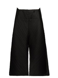 Issey Miyake Pleated Mid Rise Wide Leg Trousers Black