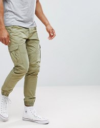 Solid Cargo Trouser With Cuffed Hem Green