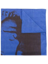 Calvin Klein 205W39nyc Paint Like Printed Scarf Blue