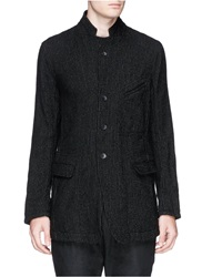 The Viridi Anne Stand Collar Stitch Pinstripe Blazer Black