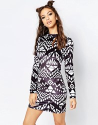Jaded London Monochrome Dress Black And White