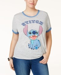 Freeze 24 7 Trendy Plus Size Stitch Graphic T Shirt Gray