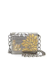 Nancy Gonzalez Gio Laser Cut Flower Crocodile Crossbody Bag Anthracite Multi Silver