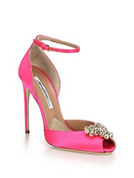 Brian Atwood Embellished Satin Peep Toe Pumps Pink
