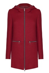 James Lakeland Hooded Coat With Zips Red